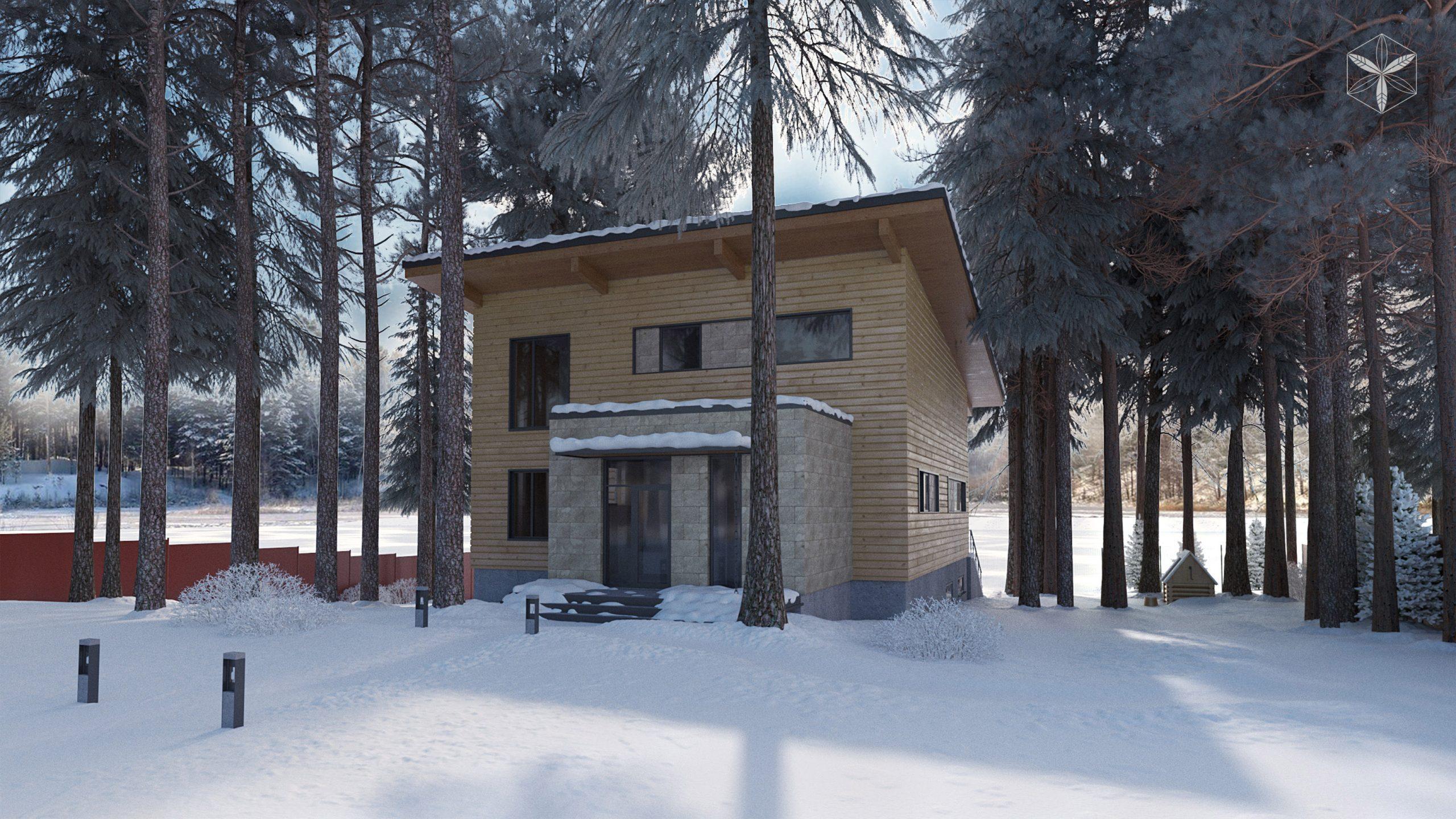 Изображение для проекта Проект коттеджа в стиле органичный модерн 1743