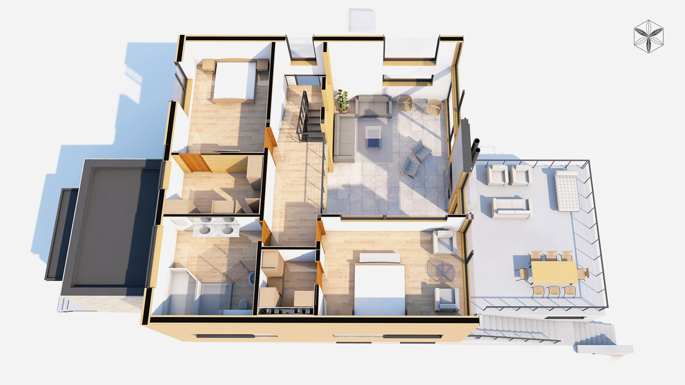 Изображение для проекта Проект коттеджа в стиле органичный модерн 1750