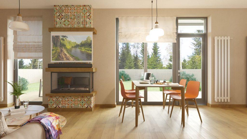 Изображение проекта дачного дома на берегу Волги - жилая комната