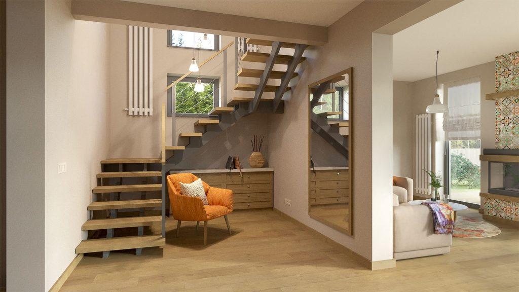 Изображение проекта дачного дома на берегу Волги - лестница