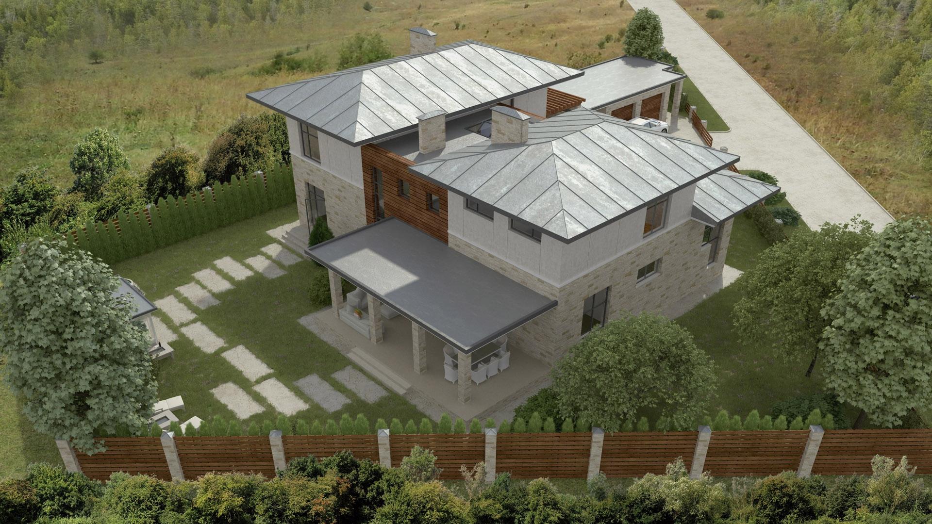 Изображение для проекта Проект современного особняка в Бишкеке 2043